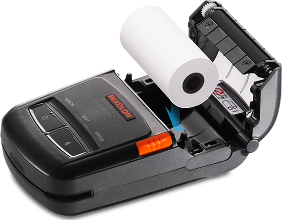 Bixolon SPP R210 – wkładanie rolki papieru