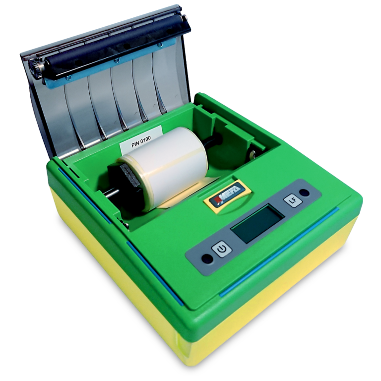 Mefa 18M - Mobilna drukarka termiczna Bluetooth - otwarta pokrywa - etykiety
